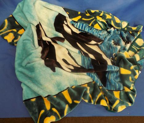 Large fleece 'Acrylic mink' dolphin themed 'throw'