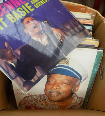 Box of LP's records