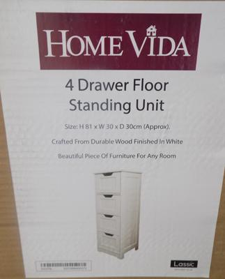"4 Drawer standing unit h32"" x 12"" x 12"" boxed/flatpack"