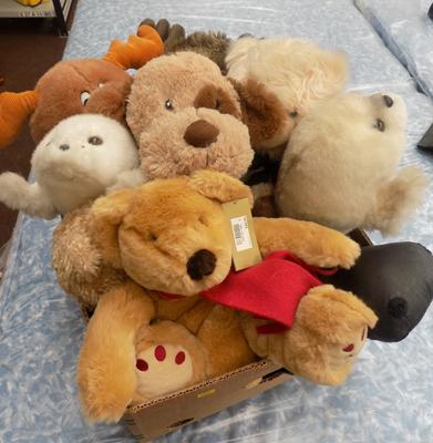 Box of mixed soft toys