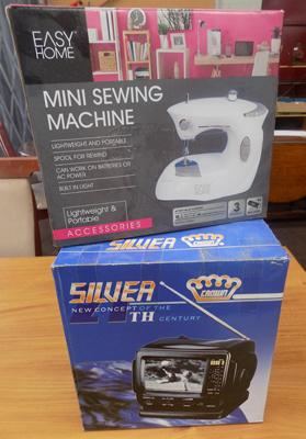 Boxed mini sewing machine & portable TV set