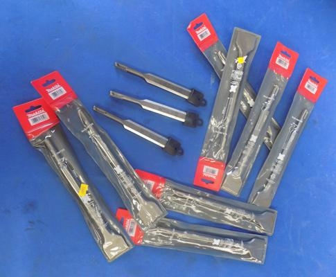 Eight Makita SDS chisels (new) + three SDS Makita wood chisels