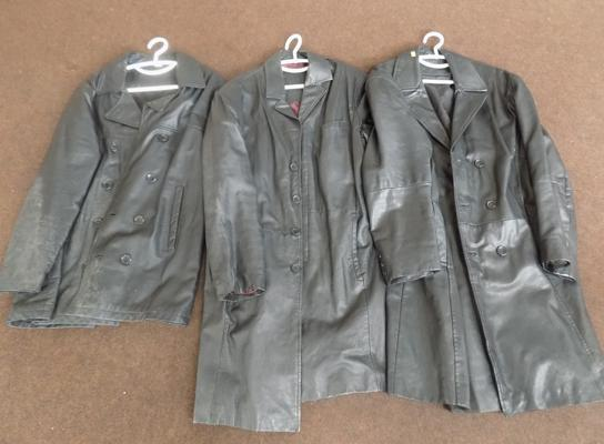 2x Gents leather 3/4 coats & gents leather jacket