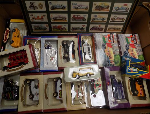 Box of boxed Diecast incl. Corgi , plus framed set of vintage sports car tea cards