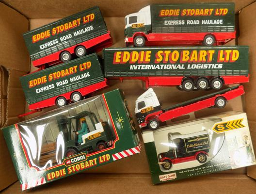 Tray of Corgi Eddie Stobart Diecast lorries - boxed and un-boxed