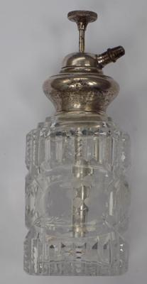 Antique cut glass atomiser with 'white metal'  (hallmark rubbed) top