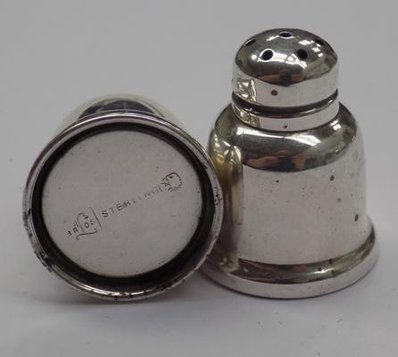Pair of 'small' sterling silver salt and pepper pots - hallmarked sterling on base, very good condition