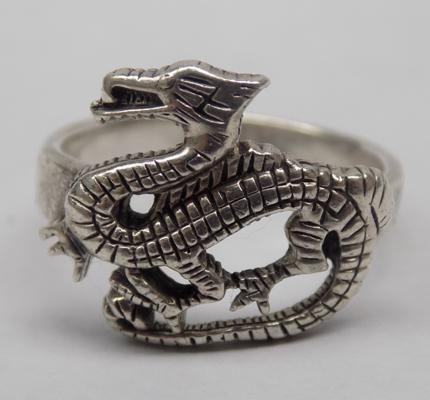 925 Silver Dragon ring approx size P1/2