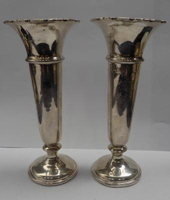 Pair of sterling silver posy vases-hallmarked Birmingham circa 1944 makers mark F&S