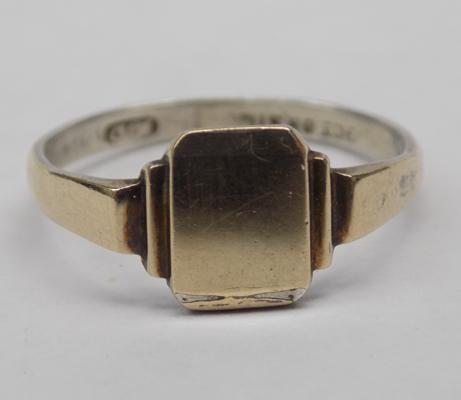 Vintage 9ct gold on sterling silver signet ring approx size R