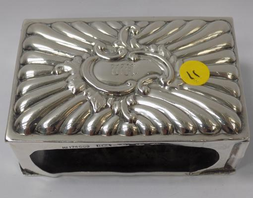"Antique solid silver match holder, 3"" long, 1905, Birmingham"
