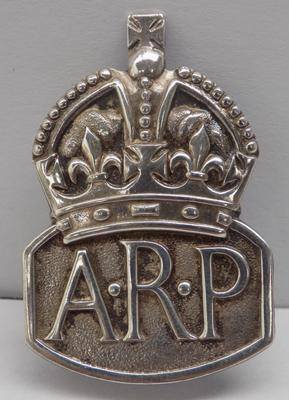 WWII sterling silver A.R.P badge-London circa 1937 makers nark RJ