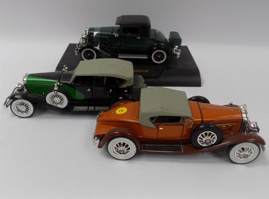 Three precision die-cast 1920's style models, Queensburg, Hudson trooper - 1920's Pachard