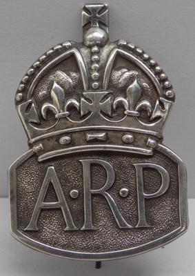 WWII sterling silver A.R.P badge-London circa 1938 makers mark RJ