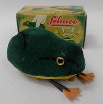 Schuco German boxed tinplate clockwork - 'flipin' frog with key, No. 930
