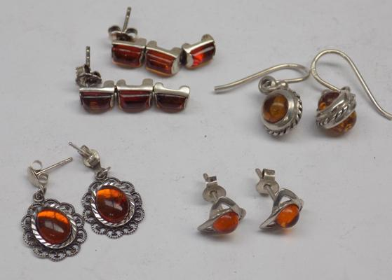 4x Pairs of Baltic Amber 925 silver earrings various designs