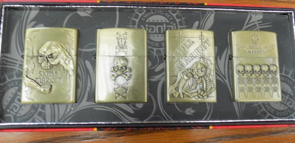 4x Oil lighters with skull theme