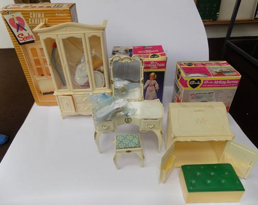 Sindy china cabinet, writing bureau, dressing table, complete in boxes