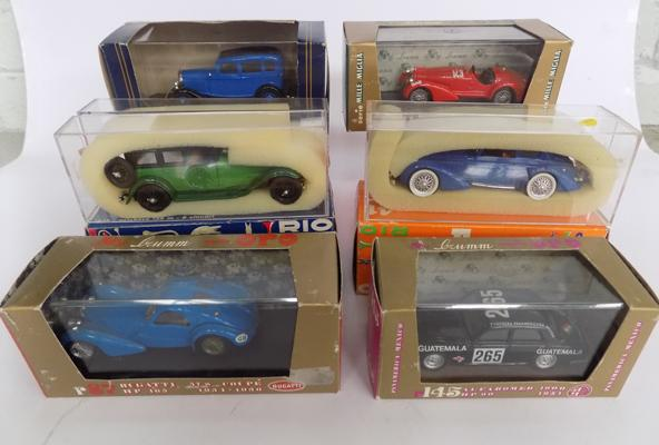 Selection of 6 boxed diecast cars inc Bugatti & Lancia