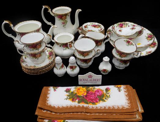 Large selection of Royal Albert Old Country Rose tea set-lids missing from pots-no damage