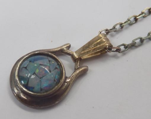 Silver & opal necklace