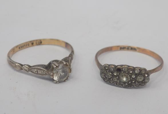 Two 9ct gold and silver rings