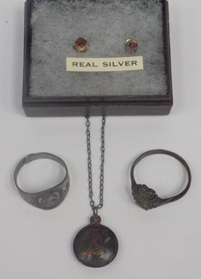 Two silver rings, necklace & earrings