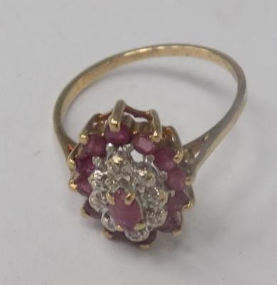 9ct gold ruby & diamond large cluster ring, size M 1/2