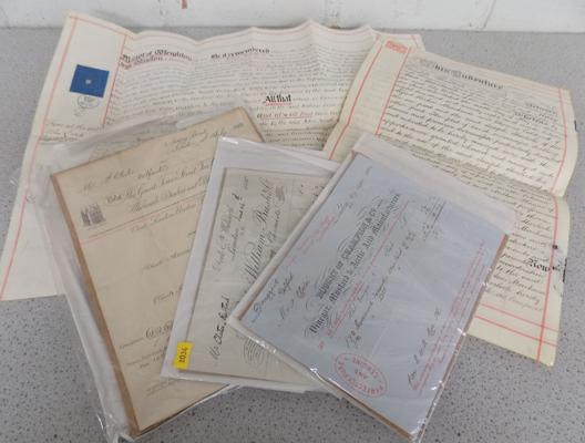 Selection of vintage indentures, receipts etc