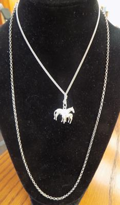Sterling silver belcher chain & sterling silver chain with horse pendant