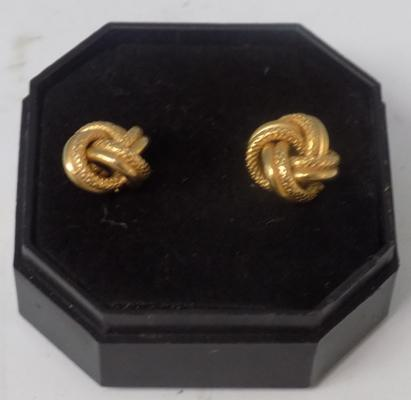Pair of 9ct gold textured double knot earrings