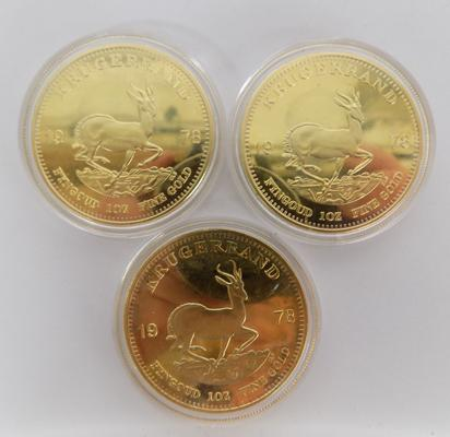Three 1978 proof coins in gold plate