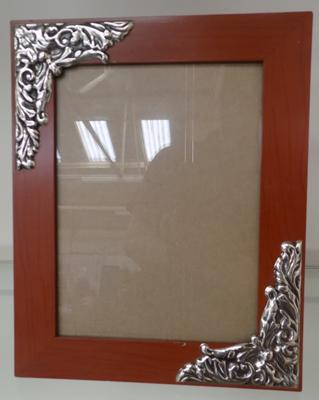 Sterling 925 silver cornered photo frame with Art Nouveau style detail