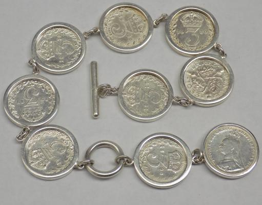 Sterling silver three pence coin bracelet (George V & Victorian coins) hallmarked Birmingham