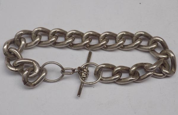 Silver 925 toggle style bracelet-not hallmarked tested as stated 43.07gms