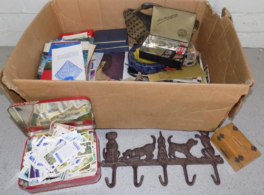 Box of collectables inc cigarette cards
