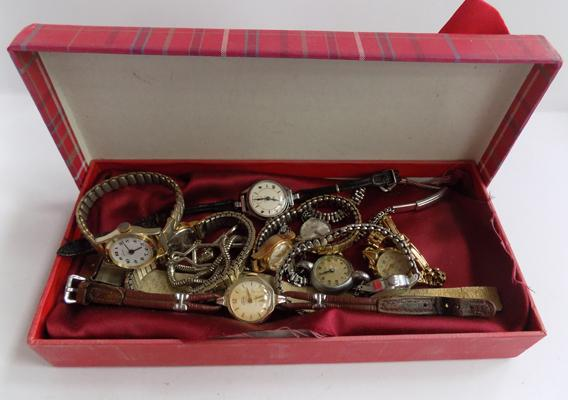 Ladies wind up watches, 10 in total, all working
