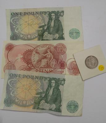 High grade 1887 shilling, 2x £1 notes & 10 shilling