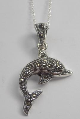 Silver & marcasite dolphin pendant on silver chain