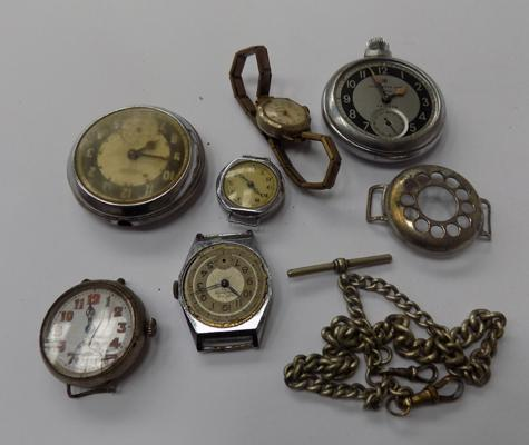 Collection of vintage watches + Albert chain