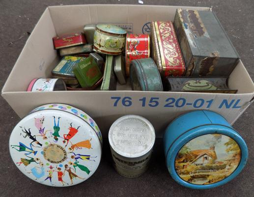 Box of vintage collectable tins