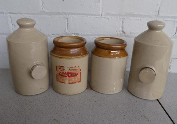 Collection of stoneware jars + hot water bottles