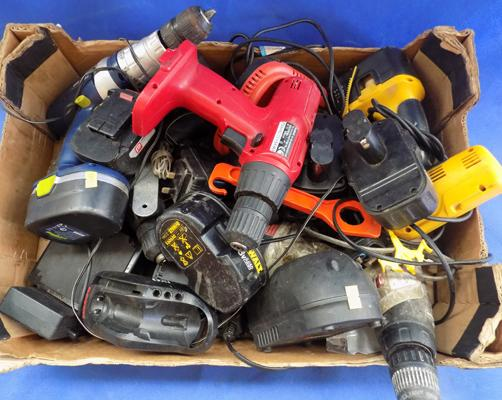 Box of cordless drills-batteries & chargers-suitable for car booters