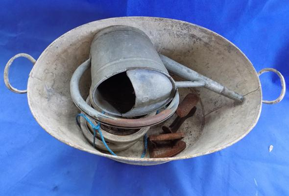 Galvanised bath & contents-watering can etc