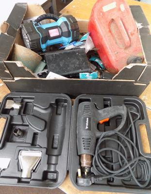Mixed box of tools, incl. heat gun, petrol can, multi-function torch