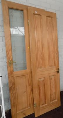Two used pine doors, interior - two styles, 2ft x 2ft 6""