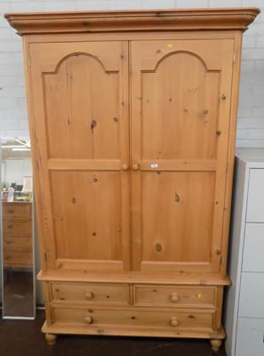 Pine double wardrobe with two over one drawers