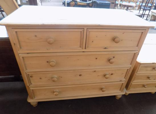 Pine, two over three chest of drawers