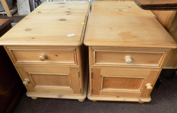 Pair of pine bedside cupboards
