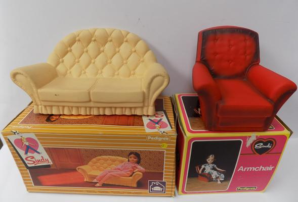 Sindy's armchair & settee, in boxes